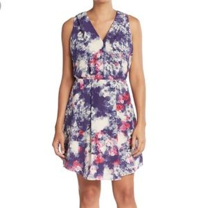 Rebecca Taylor Silk Roses Floral Sleeveless Dress
